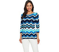 Susan Graver Cotton Rayon Striped Sweater - A288506
