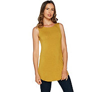 LOGO Layers by Lori Goldstein Heathered Knit Tank with Solid Back - A290206