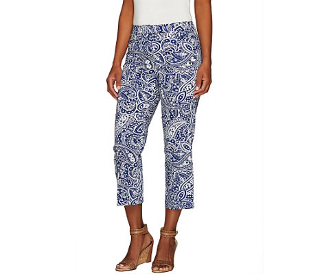 """As Is"" Isaac Mizrahi Live! Paisley Print Crop Pants"