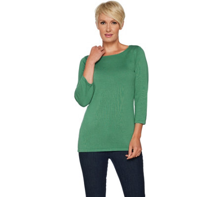 Joan Rivers Wardrobe Builders Scoop Neck 3/4 Sleeve Sweater