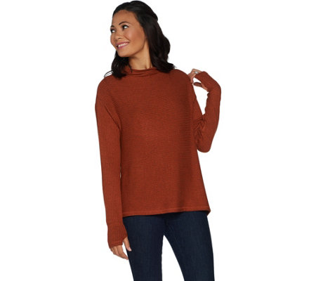 AnyBody Loungewear Ribbed Brushed Hacci Soft Funnel Neck Top