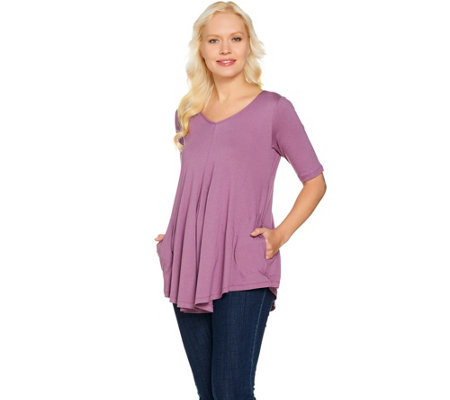 """As Is"" LOGO by Lori Goldstein V-Neck Swing Top with Pockets"