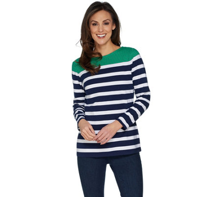 Denim & Co. Placed Stripe Boat Neck Long Sleeve Top
