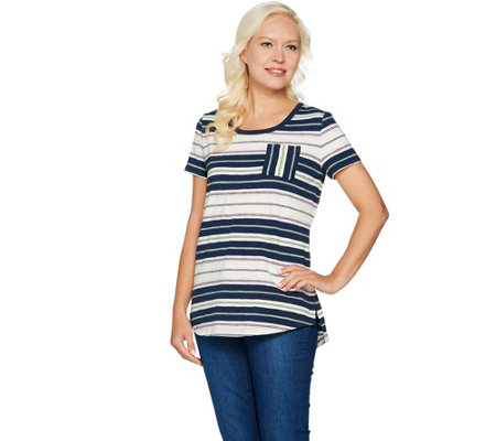 """As Is"" Isaac Mizrahi Live! TRUE DENIM Striped Slub Knit T-shirt"