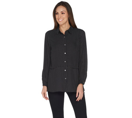 Joan Rivers Pindot Button Front Layered Blouse