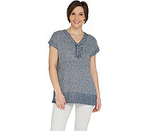 Isaac Mizrahi Live! TRUE DENIM Lace-up Poncho - A303206