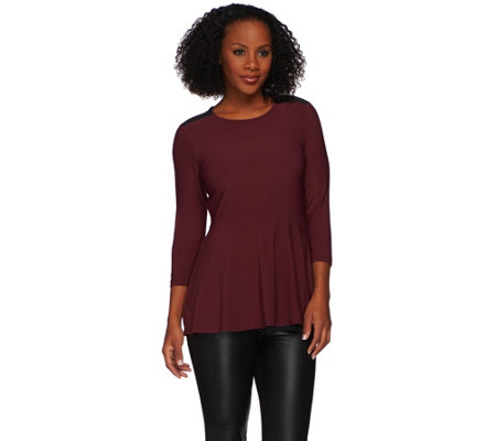 """As Is"" Attitudes by Renee Peplum Top with Faux Suede Detail"