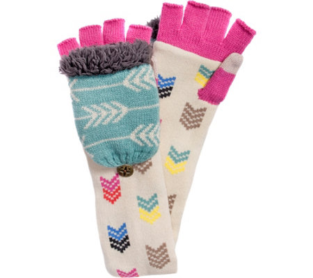 MUK LUKS Women's Multi Long Flip Mittens