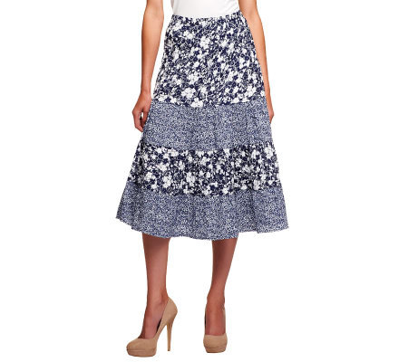 Susan Graver Printed Crinkle Pull-on Tiered Peasant Skirt