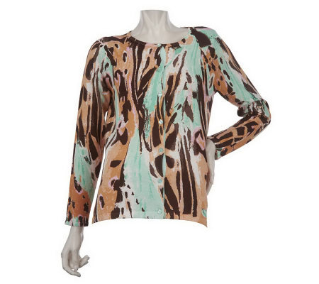 Linea by Louis Dell'Olio Printed Crew Neck Cardigan