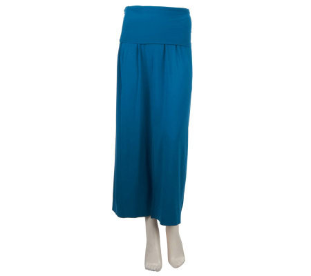 George Simonton Maxi Skirt with Foldover Waistband & Front Slit