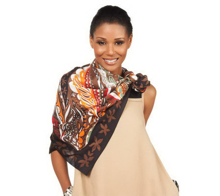 Luxe Rachel Zoe Floral Swirl Square Scarf with Border Print