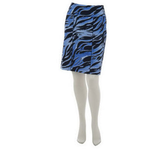 Kelly by Clinton Kelly Printed Slim Skirt w/Piping Detail - A225207