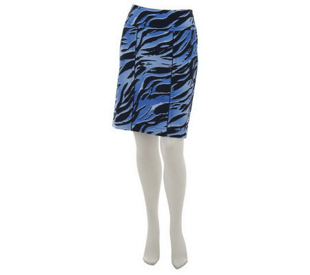 Kelly by Clinton Kelly Printed Slim Skirt w/Piping Detail