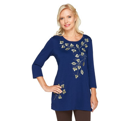 Quacker Factory Golden Fall Foliage Scoop Neck Tunic