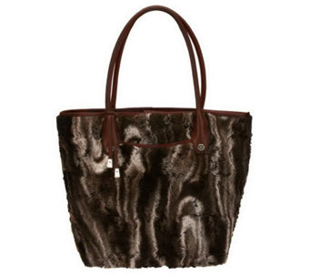 B. Makowsky Faux Fur Satchel with Leather Trim - A226307
