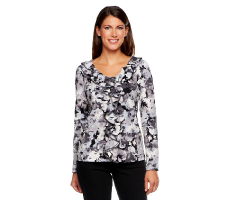Isaac Mizrahi Live! Watercolor Pansy Print Ruffled Top