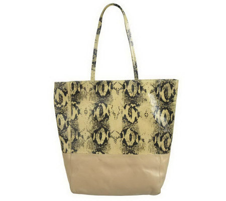 """As Is"" Margot Snake Embossed Two-Tone Leather Tote"