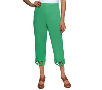 "Denim & Co. ""How Timeless"" Pull-on Woven Crop Pants w/ Lattice Trim - A232707"