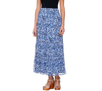 Liz Claiborne New York Pull-On Tiered Printed Maxi Skirt - A233907