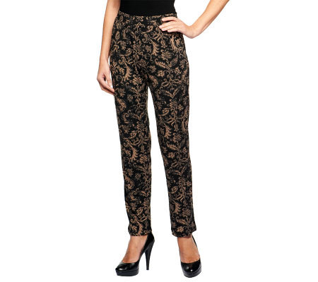 Susan Graver Printed Liquid Knit Slim Leg Pull-on Pants