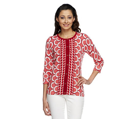 Isaac Mizrahi Live! Mixed Print 3/4 Sleeve Knit Cardigan