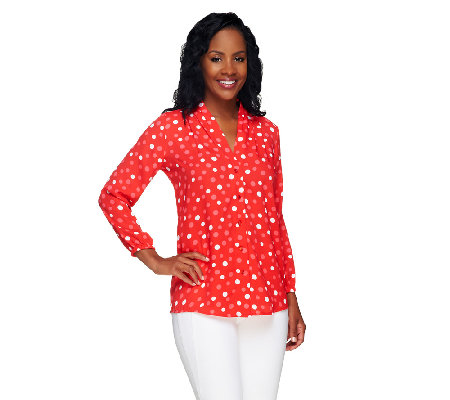 Bob Mackie's Button Front Polka Dot Printed Top