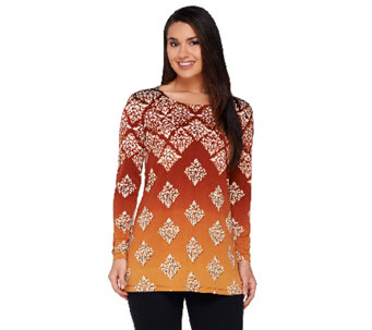 Linea by Louis Dell'Olio Printed Long Sleeve Knit Top - A259107