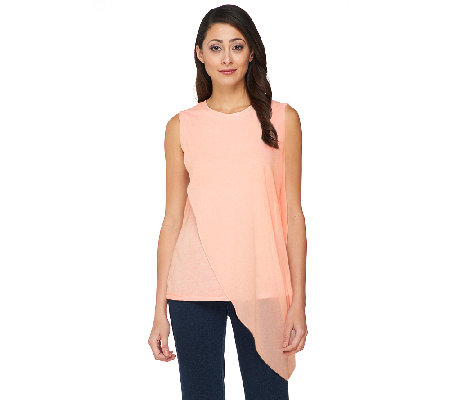 Lisa Rinna Collection Sleeveless Top with Chiffon Drape Overlay