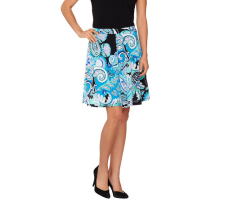 Susan Graver Printed Liquid Knit Pull-On Split Skirt
