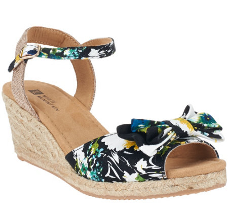 White Mountain Espadrille Wedges w/ Ankle Strap - Suntan