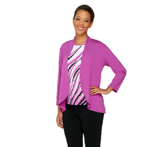 Bob Mackie's Jersey Knit Feather Print Tank and Solid Cardigan Set - A263607