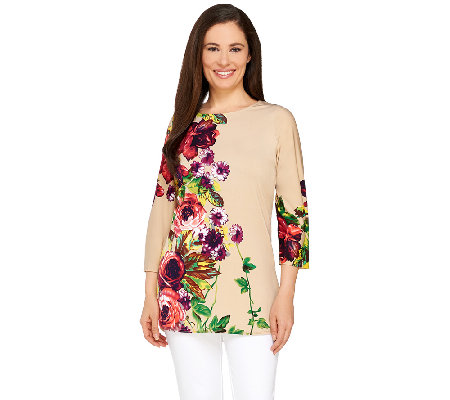 Attitudes by Renee Floral Printed 3/4 Sleeve Jersey Tunic
