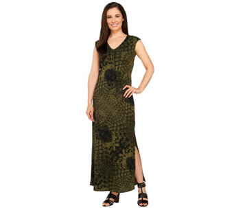 G.I.L.I. Regular V-neck Printed Knit Maxi Dress - A264107