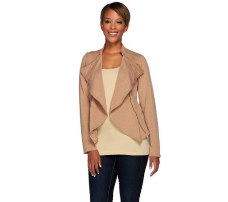 Lisa Rinna Collection Open Front Knit Jacket with Zipper Detail