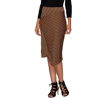 G.I.L.I. Asymmetric Stripe Faux Wrap Scuba Skirt