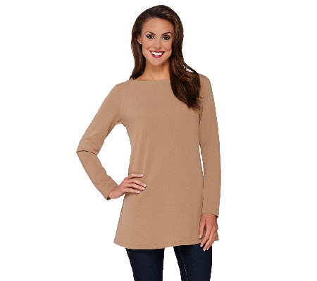 Susan Graver Passport Knit Long Sleeve Bateau Neck Tunic