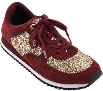 Isaac Mizrahi Live! SOHO Lace Up Sneakers with Glitter - A270207