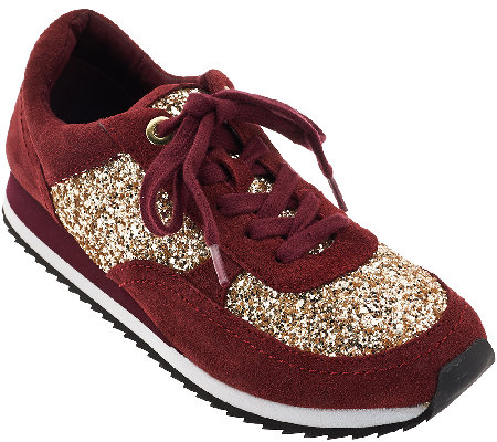Isaac Mizrahi Live! SOHO Lace Up Sneakers with Glitter
