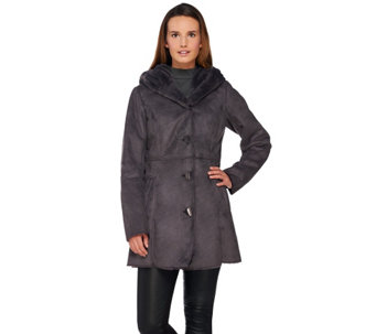 Dennis Basso Pillow Collar Faux Shearling Coat - A271107