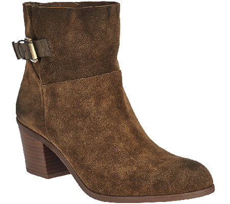 Franco Sarto Suede Slip-on Ankle Boots w/ Side Buckle - Monument