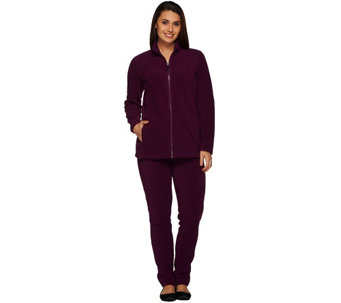 Denim & Co. Active Petite Fleece Zip Front Jacket and Pant Set - A271407