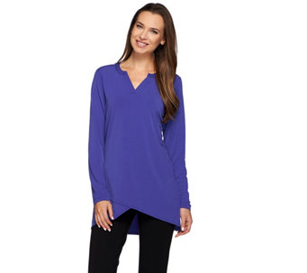 Susan Graver Liquid Knit Long Sleeve Tunic with Crossover Hem - A271507