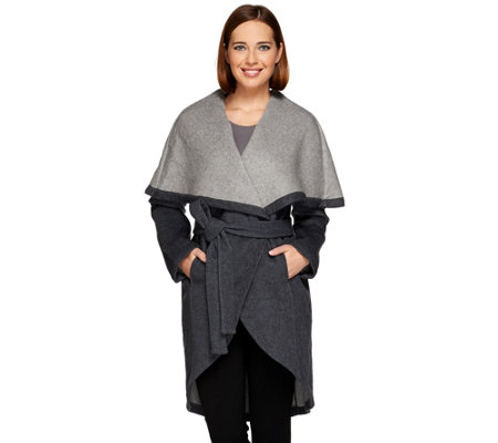H by Halston Double Face Shawl Collar Coat