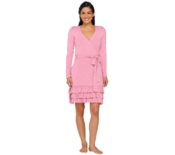 """As Is"" LOGO Luna by Lori Goldstein Tie Waist Knit Robe w/Ruffle Detail - A271707"