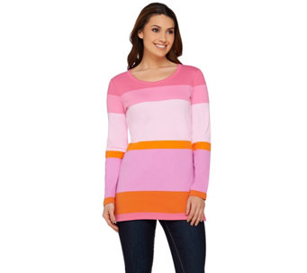 Isaac Mizrahi Live! Color Block Scoop Neck Tunic - A272507