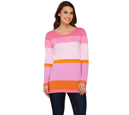 Isaac Mizrahi Live! Color Block Scoop Neck Tunic