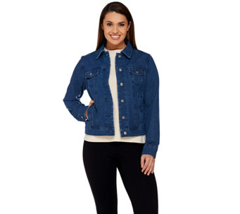 Isaac Mizrahi Live! 24/7 Denim Cropped Jean Jacket - A273107