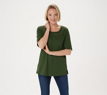 """As Is"" Quacker Factory Smile N' Style Scalloped Elbow Sleeve T-Shirt"