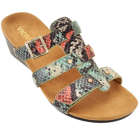 Vionic Orthotic Adj. Triple Strap Slide Wedges - Radia